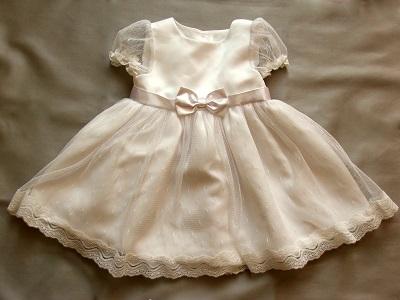 Sukienka do chrztu dla dziewczynki z falbanką na lato Dulambie 62